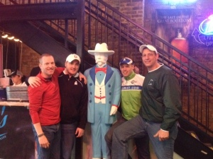 L to R: Mark Murphy, CTC's Patrick Payne, Jim Farrell and Tim Walsh hanging out with one Jasper Newton (Jack) Daniel