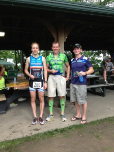 L to R: (podium girls please!) 2nd Overall Jason Zangmeister, 3rd Overall Mike Schaefer, and Winner Aaron Henely