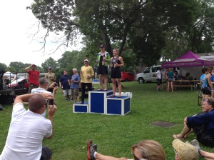 Jen P on the podium at Musselman!!