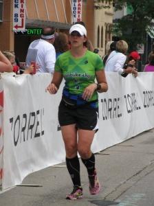 Lori crushing the marathon portion of IM Wisconsin!