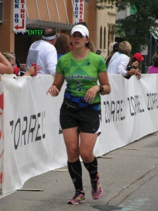 Lori crushing the marathon portion of IM Wisconsin!