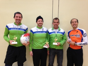 l to r: Schaefer (with bird), Henely, Zobricky and Huang showing off the victor's spoils